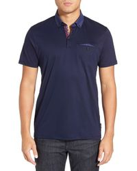 Ted Baker | Blue 'gobak' Jacquard Collar Polo Shirt for Men | Lyst