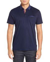 Ted Baker | Blue 'gobak' Jacquard Collar Polo Shirt for Men | Lyst