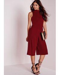 Missguided - Purple High Neck Culotte Jumpsuit Burgundy - Lyst