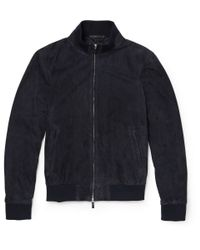 Hackett | Blue Suede Bomber Jacket for Men | Lyst