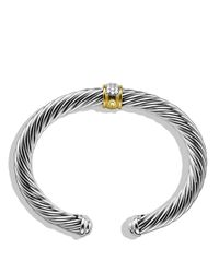 David Yurman | Metallic Cable Classics Bracelet With Diamonds And Gold | Lyst