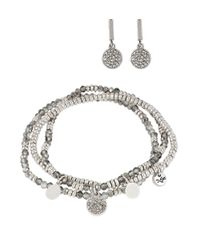 Kenneth Cole | Metallic Beaded Stretch Bracelet And Earring Set | Lyst