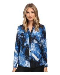 Calvin Klein | Blue Patterned Blouse | Lyst