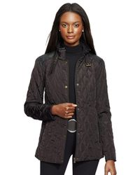 Lauren by Ralph Lauren | Gray Faux Leather Trim Quilted Jacket | Lyst