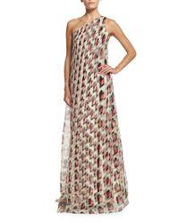 Carolina Herrera - Multicolor One-shoulder Draped Gown - Lyst