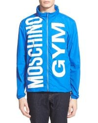 Moschino | Blue Waterproof Nylon Rain Jacket for Men | Lyst