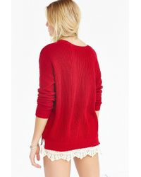 Pins And Needles | Red Lace-trim Sweater | Lyst