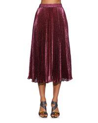 Christopher Kane | Purple Metallic Pleated Midi Skirt | Lyst