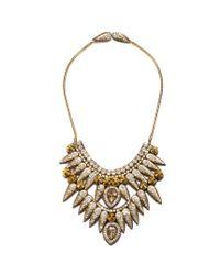 Suzanna Dai | Metallic Torreon Spike Statement Necklace, Champagne | Lyst