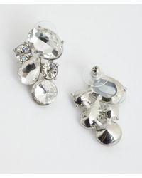 Kenneth Jay Lane | Metallic Silvertone Crystal Cluster Earrings | Lyst