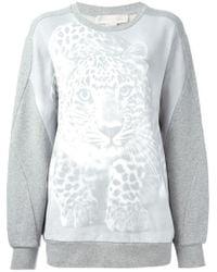 Stella McCartney - Gray Leopard-Print Cotton Sweatshirt - Lyst