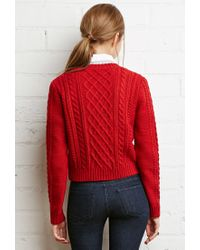 Forever 21 - Red Cropped Cable Knit Sweater - Lyst