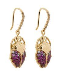 Aurelie Bidermann - Metallic Scarab Drop Earrings - Lyst