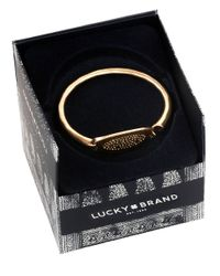 Lucky Brand | Metallic Oval Goldtone Pave Bangle Bracelet | Lyst