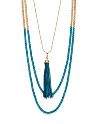 ABS By Allen Schwartz | Metallic Seaglass Brights Half-Dipped Multistrand Tassel Necklace | Lyst