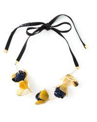 Marni - Black Flower Pendant Necklace - Lyst