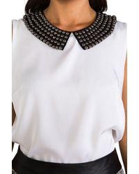 MILLY - Matte Stretch Silk Stud Collar Sleeveless Tank in White - Lyst