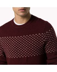Tommy Hilfiger | Red Wool Crew Neck Sweater for Men | Lyst