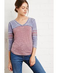 Forever 21 | Blue Striped-sleeve Burnout Top | Lyst