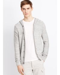 VINCE | Black Sporty Jaspé Hooded Cardigan for Men | Lyst