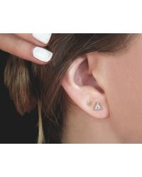 Vrai & Oro   Metallic Square Stud Earrings   Lyst