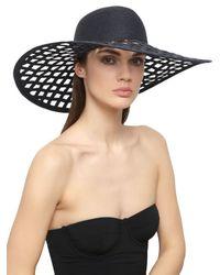 Eugenia Kim - Blue Jody Perforated Large Brim Straw Hat - Lyst
