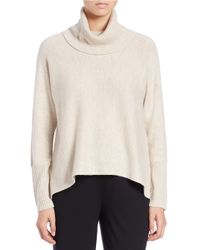 Eileen Fisher | Natural Wool-blend Hi-lo Turtleneck Sweater | Lyst
