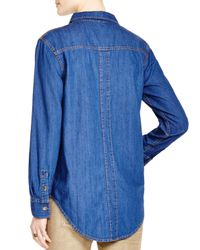 Free People | Blue Xo Denim Button Down Shirt | Lyst