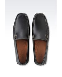 Armani Jeans - Black Classic Leather Driving Shoe for Men - Lyst
