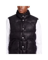 Denim & Supply Ralph Lauren - Black Faux-leather Down Vest for Men - Lyst