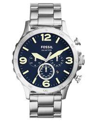Fossil - Metallic 'nate' Chronograph Bracelet Watch for Men - Lyst