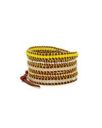 Chan Luu | Neon Beaded Wrap Bracelet - Neon Yellow Mix/natural Brown | Lyst