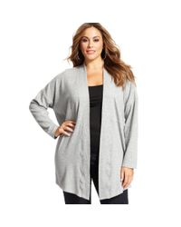 DKNY | Gray Plus Size Open Front Cardigan | Lyst