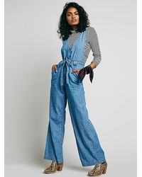 Free People | Blue Clara Chambray One Piece | Lyst