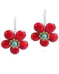 Aeravida - Cute Red Coral Flower Brass .925 Silver Earrings - Lyst