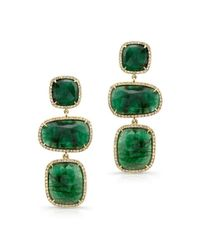 Anne Sisteron | Green 18kt Yellow Gold Emerald And Diamond Triple Drop Earrings | Lyst