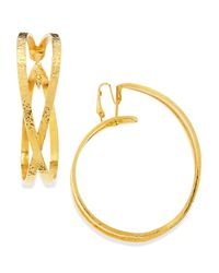 Jose & Maria Barrera | Metallic 24k Gold Plated X Hoop Clip-on Earrings | Lyst