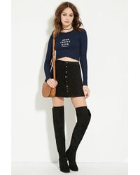 Forever 21 - Blue Mean Graphic Crop Top You've Been Added To The Waitlist - Lyst