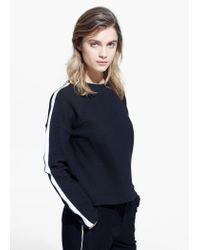 Mango - Black Contrast Trim Sweatshirt - Lyst