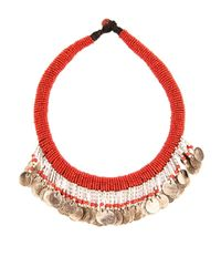Muzungu Sisters - Red Beaded Coin Necklace - Lyst