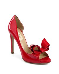 Valentino - Red D'orsay Patent Leather Bow Pumps - Lyst