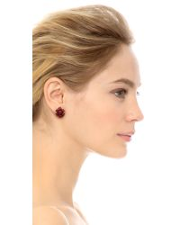 Oscar de la Renta - Crystal Flower Button Earrings - Red - Lyst