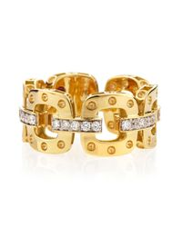 Roberto Coin | Metallic 18k Yellow Gold Pois Moi Band Ring With Diamonds | Lyst
