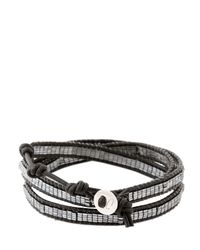 Colana - Black Wrap Around Leather Bracelet - Lyst