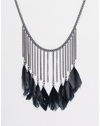 Pieces | Black Rawina Feather Collar Necklace | Lyst