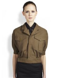 Saint Laurent | Brown Cropped Military Jacket | Lyst