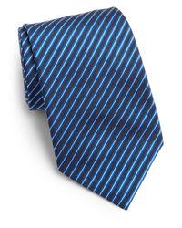 Saks Fifth Avenue | Blue Narrow Striped Silk Tie for Men | Lyst