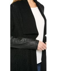 DKNY - Pure Cardigan With Leather Sleeves - Black/Black - Lyst