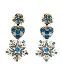 Oscar de la Renta - Blue Star Drop Clip-On Earrings - Lyst
