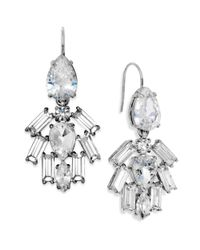 Juicy Couture | Metallic Silver Tone Crystal Cluster Chandelier Earrings | Lyst